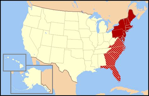 Map Of The East Coast United States by East Coast Of The United States Simple English Wikipedia