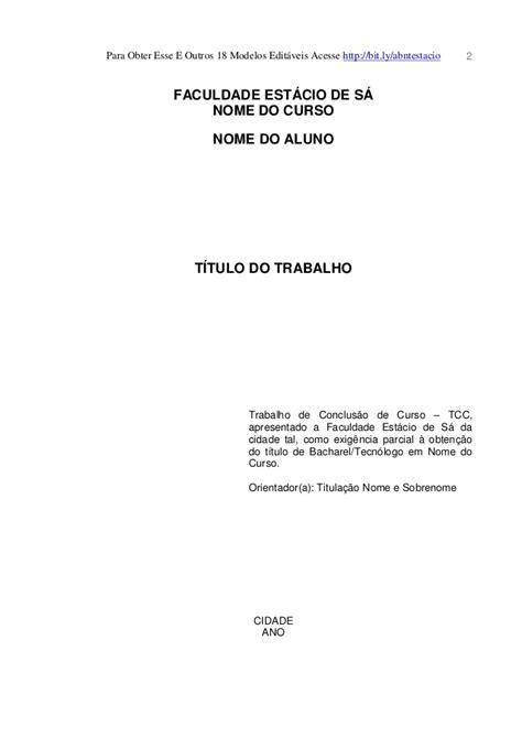Abnt Tcc Como Requisito Parcial Para Obtenção Do Grau Mba by Modelo Trabalho Acad 234 Mico Est 225 Cio De S 225