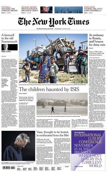 Pdf New York Times Free Article by International New York Times 2 August 2017 Pdf Free