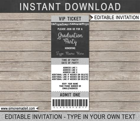 free printable graduation tickets graduation ticket invitation template class of 2017