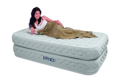intex single size fiber tech supreme air flow airbed with built in electric only airbeds