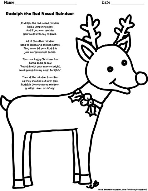 printable lyrics to rudolph the red nosed reindeer rudolph the red nosed reindeer coloring page smart