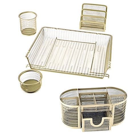 gold desk organizer mesh desktop organizer collection in gold bed bath beyond