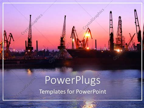 powerpoint template port depiction with naval ships at