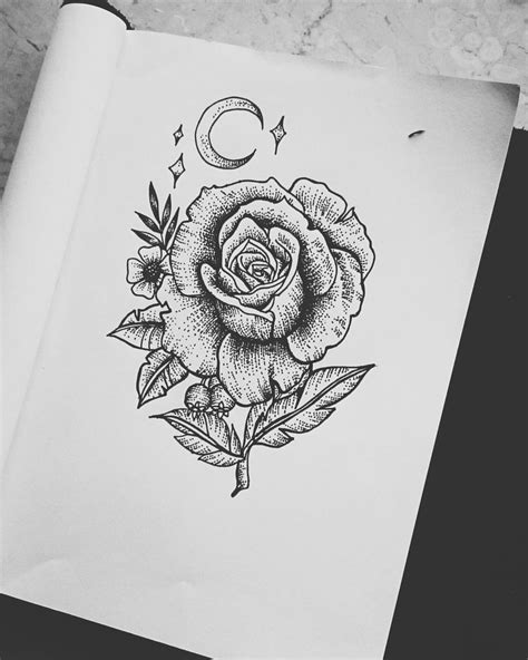 dotwork rose by artbyshiela on deviantart