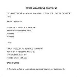 Management Agreement Template by 4 Artist Management Contract Templates Free Pdf Word