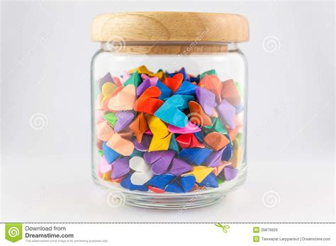 Jar Of Origami - origami in jar stock image image of white
