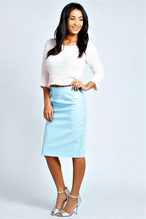 boohoo lola patent high shine midi skirt in blue ebay