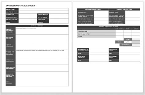 engineering change order template complete collection of free change order forms smartsheet
