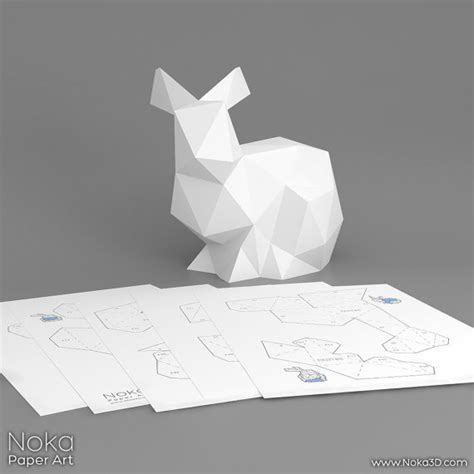 bunny 3d papercraft model downloadable diy by