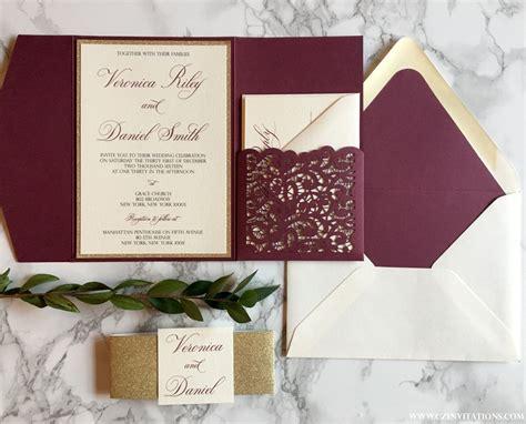 Wedding Invitations Burgundy by Laser Cut Pocket Wedding Invitation Burgundy And Gold