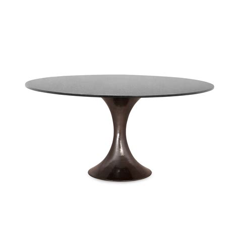 52 marble dining table with hammered metal base mecox