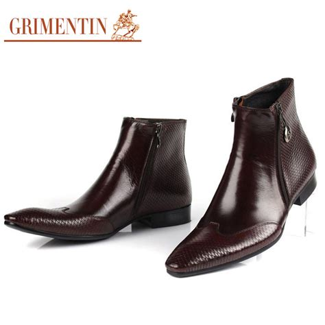 italian boots for italian designer mens leather boots pointed toe zip snake