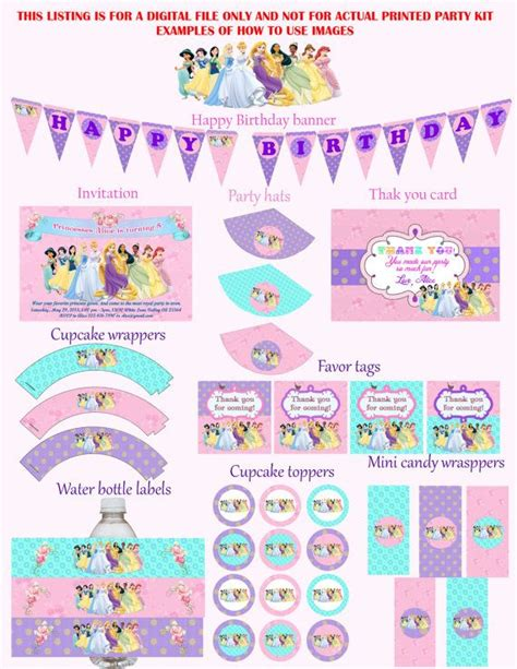 printable princess party decorations disney princess birthday party kit party package