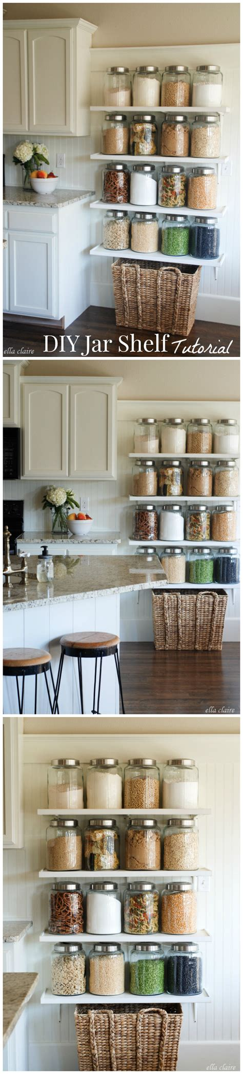 Jar Shelf by Diy Kitchen Jar Shelves Tutorial Ella