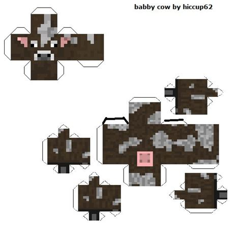 Minecraft Cow Template baby cow papercraft template crafts baby
