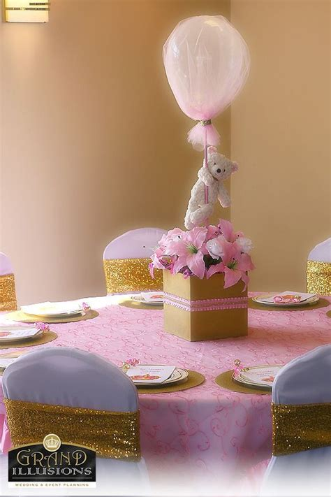 Baby Shower Teddy Decorations by Custom Teddy Centerpiece Pink Gold White Princess