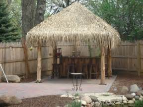 tiki hut finished backyard tiki bar