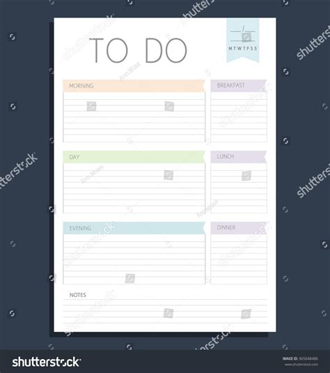 eps format full form vector color template do list blank stock vector 365048486