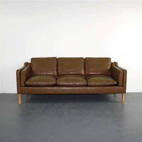 vintage mogensen style 3 seater light brown leather sofa