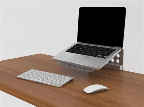 Minimal Footprint Laptop Stand Gives You More Space On Computer Stand For Desk