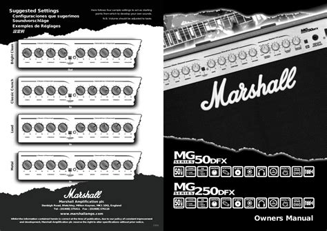 Suggested Settings Owners Manual Marshall Amplification
