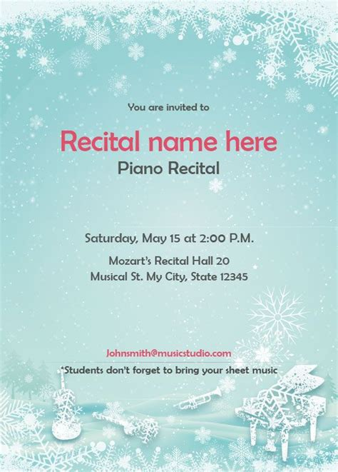 Winter Theme Recital Invitation Holiday Piano Recital Templates Pinterest Recital Piano Winter Program Template