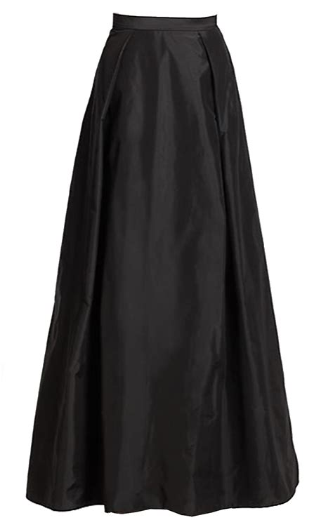 plus size black taffeta maxi skirt with inverted pleats