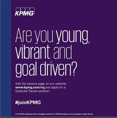 Kpmg Mba Careers by Kpmg Graduate Trainee Program 2017 For Nigerians