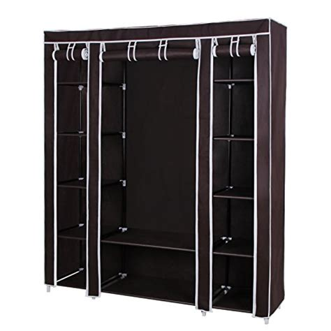 Black Brown Wardrobe Closet Songmics 59 Portable Clothes Closet Non Woven Fabric