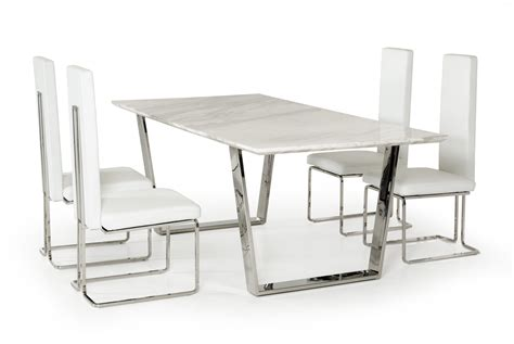 Natural White Marble Top and Chrome Legs Dining Table