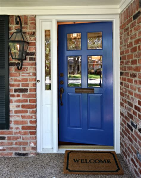 bright blue front door traditional exterior houston