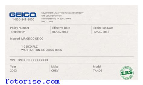 Geico Insurance Card Template Fotorise Com State Farm Insurance Card Template