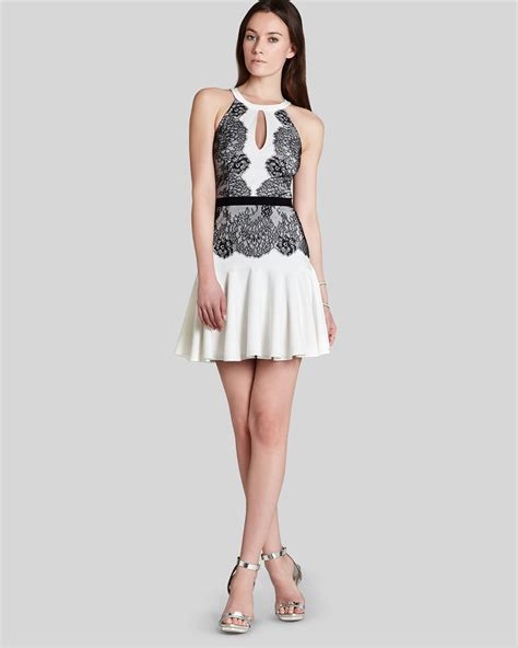 Bcbgmaxazria Bcbg Max Azria Dress Leyla Sleeveless Color Block Lace Flippy Skirt in White   Lyst