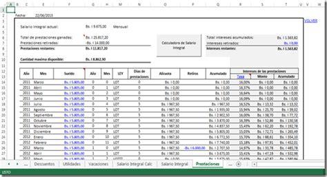 hoja calculo prestaciones sociales 2016 calculo salarial 2017 venezuela lottt liquidaciones