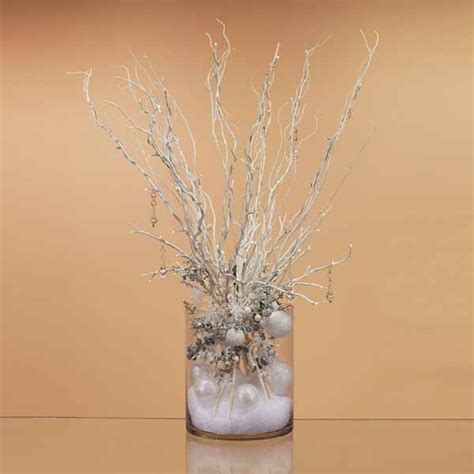 Lighted Branches Centerpieces With Fake Snow Snowballs Lighted Branches Centerpieces