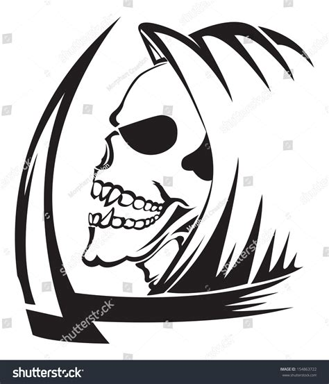 Stiker Scorpion Keren design grim reaper scythe vintage stock vector