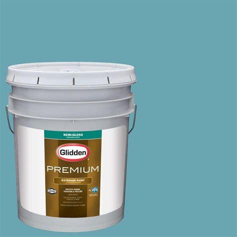 glidden premium 5 gal hdgb34 deepest aqua semi gloss exterior paint hdgb34px 05s the