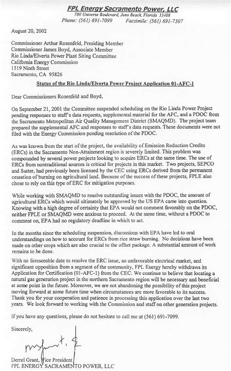 Withdrawal Letter From Llc Fpl Pulls Out Of Elverta