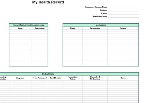 health record template personal health record template personal health record