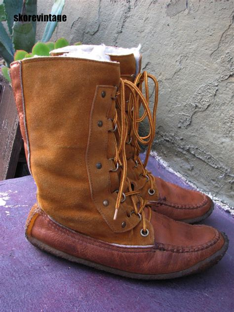 Handmade Leather Moccasin Boots - vntage handmade moccasin boots 10 crepe by skorevintage