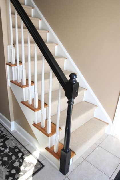 banister pictures oak staircase white spindles design treads combine with black handrail and white