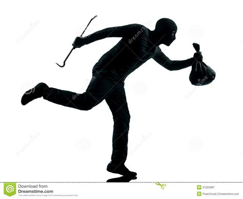 A White With A Criminal Record Is More Likely To Get A Thief Criminal Running Silhouette Royalty Free Stock Photography Image 37223987