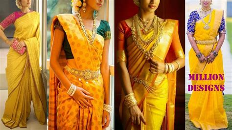 Red Color Combinations by Yellow Kanchipuram Sarees And Blouse Match Color