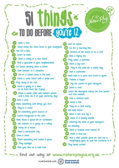 what to do for on day nature play sa launch 51 things to do before you re 12