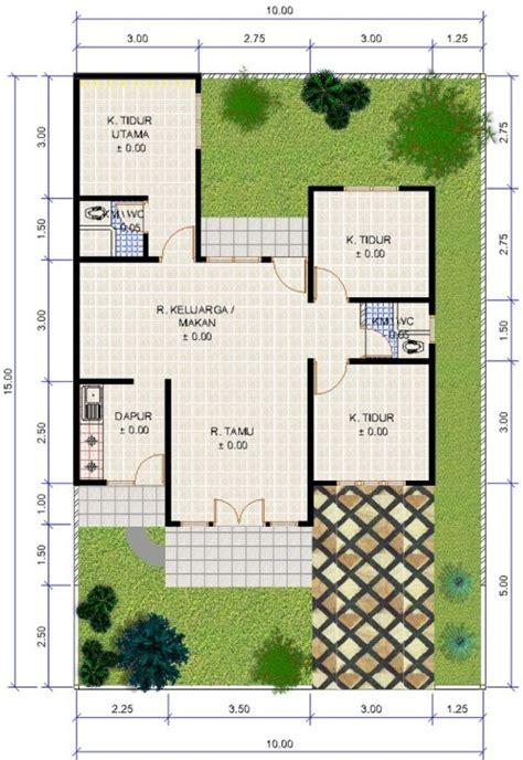 denah rumah minimalis type  satu lantai  kamar