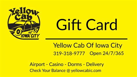 Cab Gift Cards - taxi gift cards iowa city yellow cab