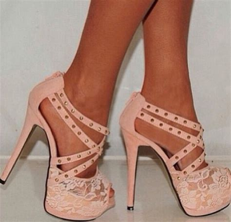 shoes pink strappy studs lace pink shoes high heel