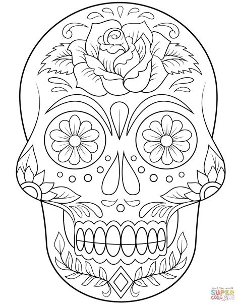 Flower Sugar Skull Coloring Pages Coloring Pages Sugar Skull Coloring Pages