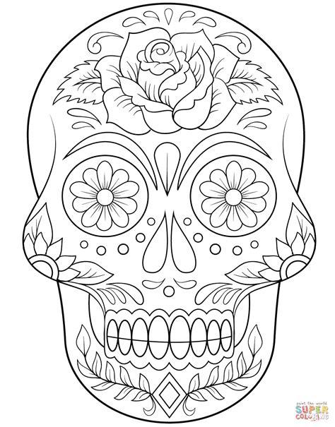 Dibujo de Calavera de Azúcar con Flores para colorear   Dibujos para colorear imprimir gratis